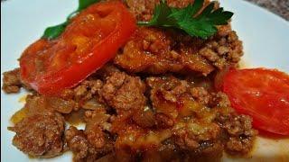 Баклажаны в духовке  Как запечь баклажаны с помидорами и фаршем.