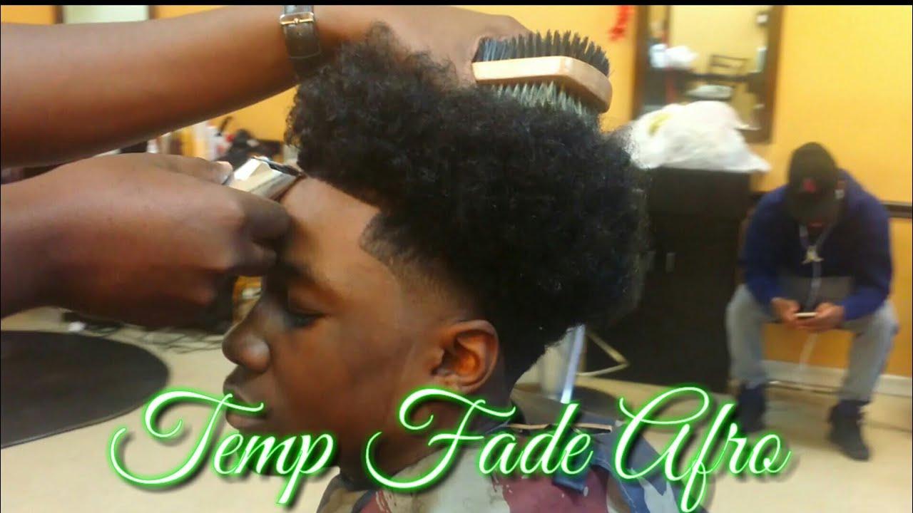 Temp Fade Afro Haircut Barber Tutorial Youtube
