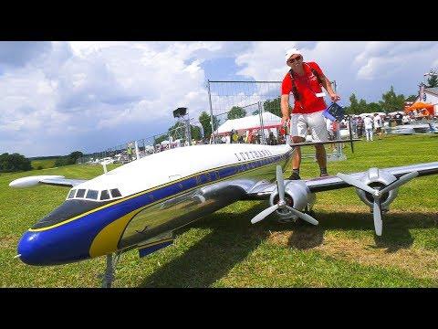 RC MODEL AIRPLANE LOCKHEED SUPER CONSTELLATION LUFTHANSA IN DETAIL AND DEMO FLIGHT!!