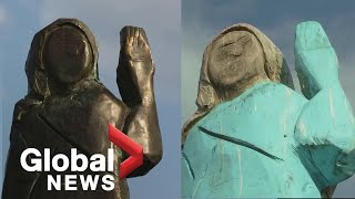 Bronze Statue Of Melania Trump Unveiled After Wooden Version Burned In Her Native Slovenia Youtube