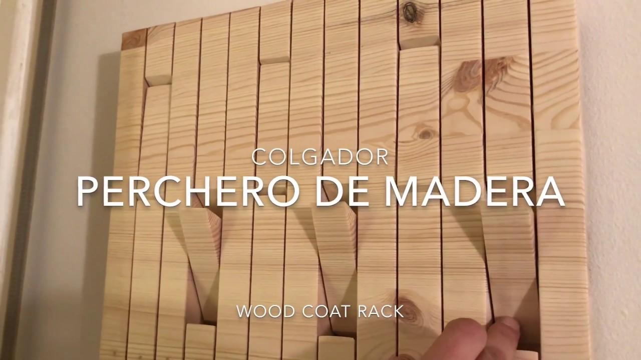 Diy c mo hacer perchero o colgador de pared en madera de - Perchero madera pared ...