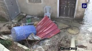 انهيار جدار استنادي على أحد المنازل في عين جنا بعجلون (24/1/2020)