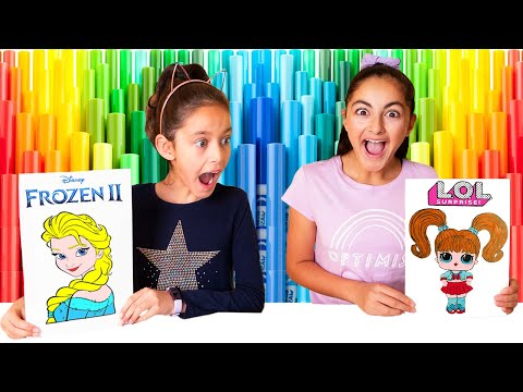 3 Marker Challenge!! SIS vs SIS with LOL & FROZEN 2 GIVEAWAY🎁