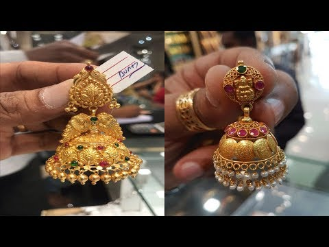 beautiful-traditional-gold-ruby-and-emerald-jhumkas-designs||gold-butallu-earrings-designs