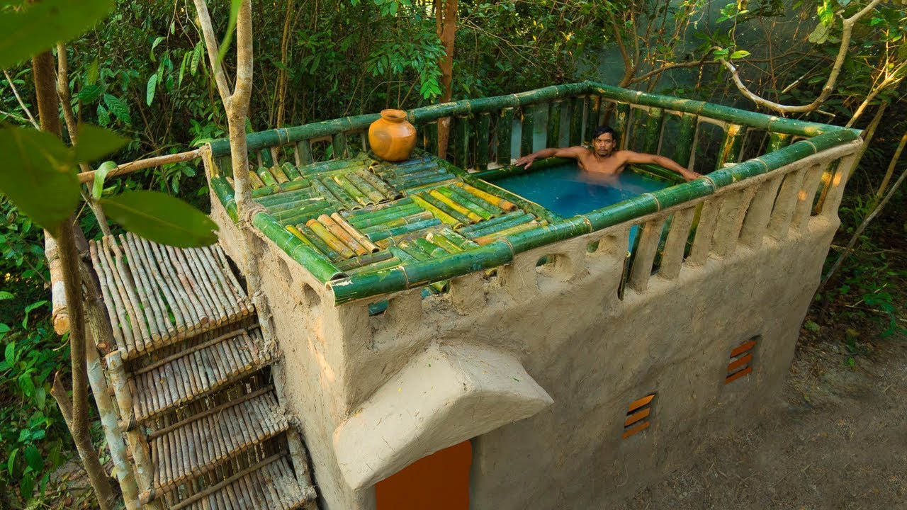 Build Mini Swimming Pool With Bamboo on Mud House