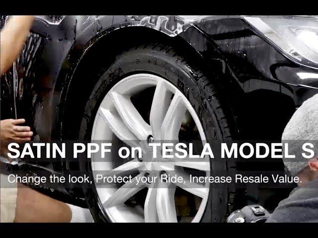 Satin Paint Protection Film on Black Tesla Model S P100D P90D Time-lapse