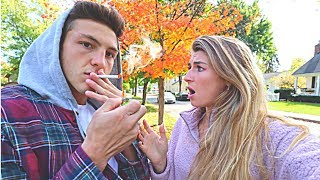 SMOKING CIGARETTE PRANK ON GIRLFRIEND!