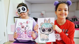 Masal and Öykü played 3 colors challenge -Education activities video for kids