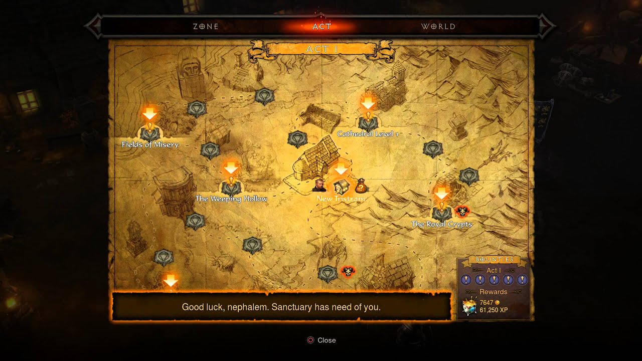 diablo iii ultimate evil edition adventure mode tyrael sancuarary map info bounties tutorial