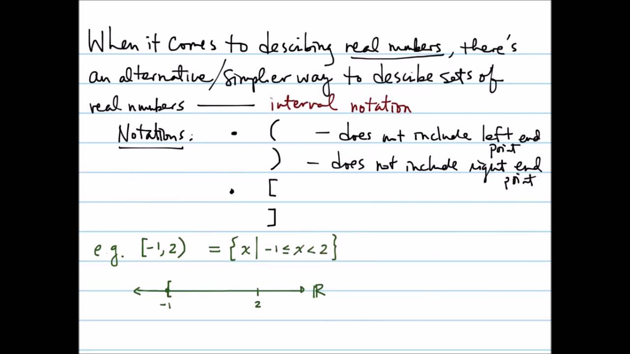 Set-builder and interval notations for describing sets of real numbers