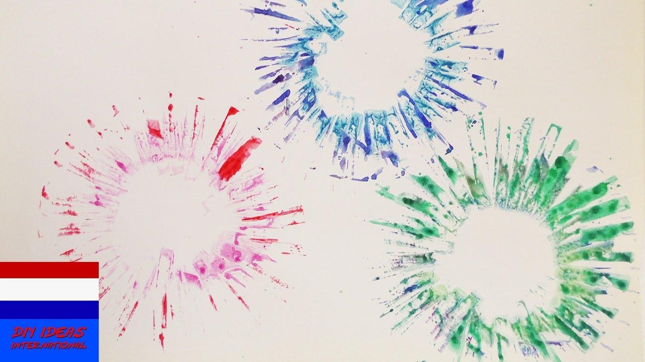 kleurig vuurwerk schilderen kleurexplosie op papier. Black Bedroom Furniture Sets. Home Design Ideas