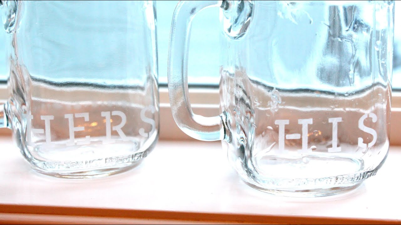 Quick  Easy DIY Etched Glass Mason Jar Mugs Easy Last Minute