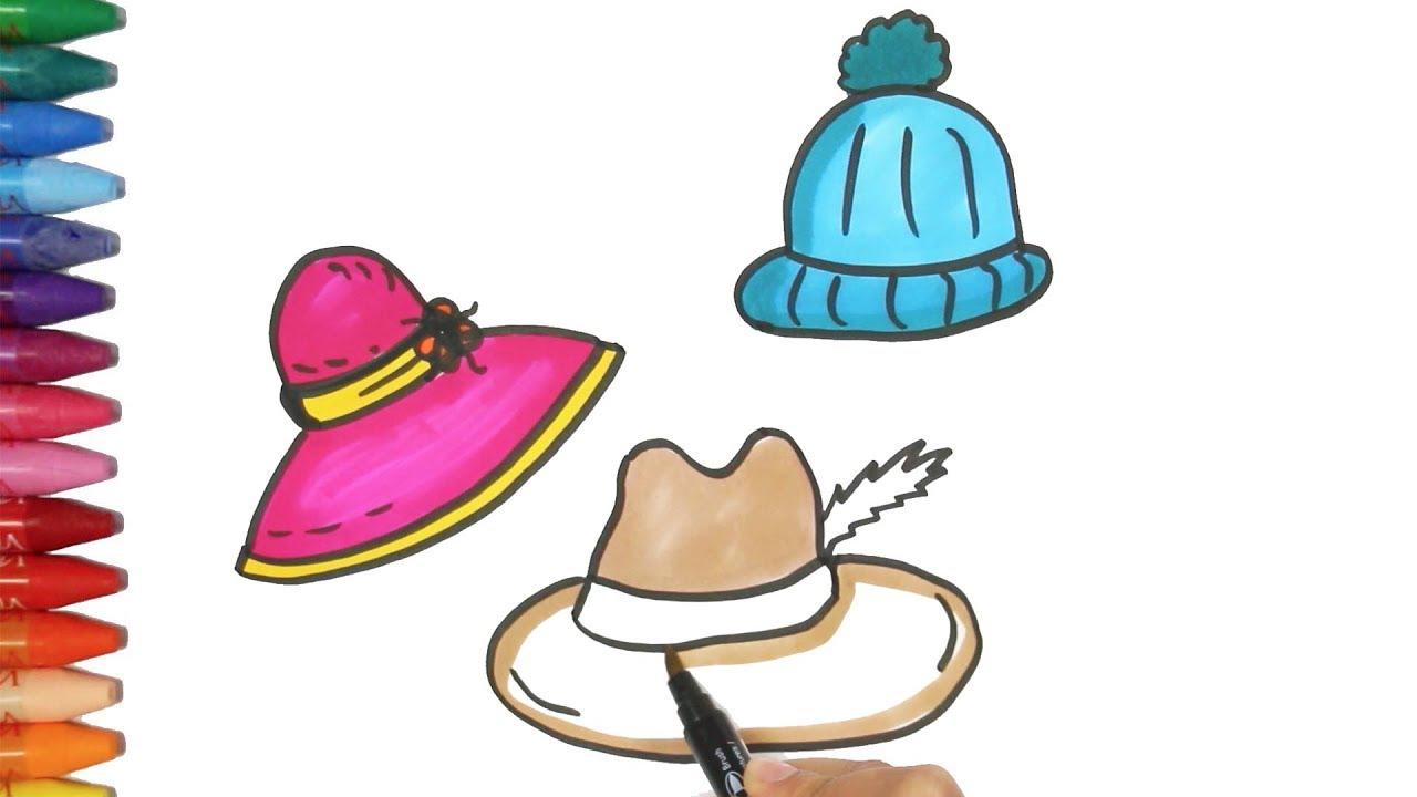 Dibujar un Sombrero y Boina | Cómo dibujar y colorear los para niños ...