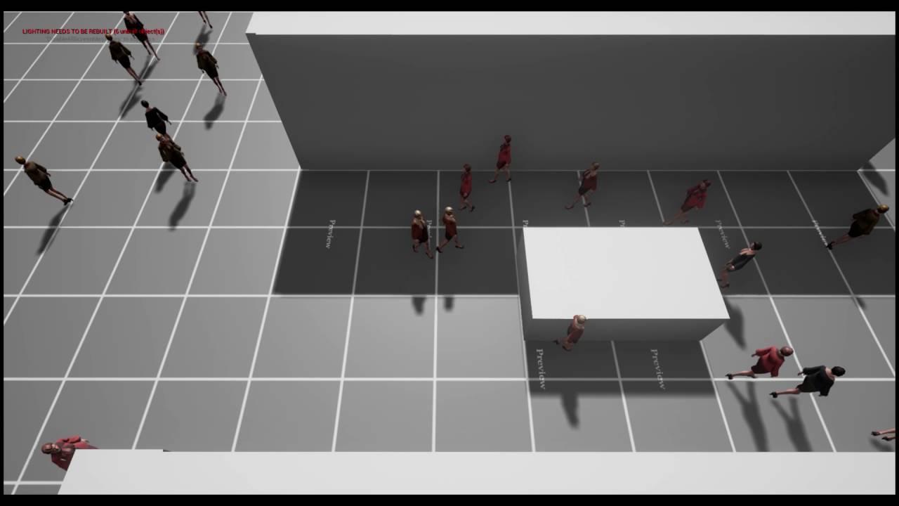 Crowd simulation Unreal engine 4