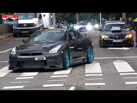 Modified Cars & Supercars Leaving a Car Show! – C63s CRASH, 800HP Supra, Aventador SVJ, Skyline,…