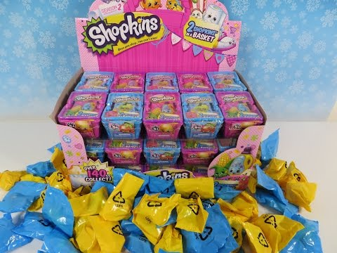 Shopkins Season 1 & 2 Full Box 30 Blind Mystery Baskets Opening Unboxing Toy Review