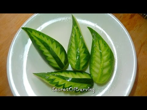 cucumber leaf carving design 1, lesson 1 for beginners,แกะสลักใบไม้แตงกวา แบบที่ 1