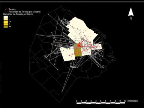 Origin Destination map and urban paths of Buenos Aires based on Twitter data.
