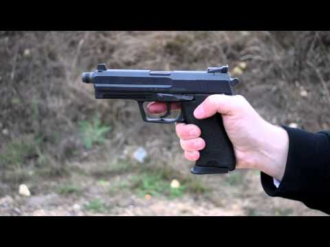 Shooting; HK USP Tactical 45 - unsuppressed and suppressed with AAC TiRANT 45