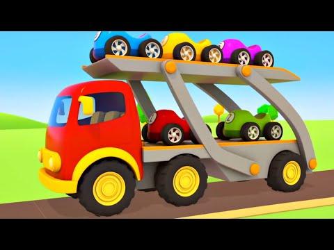 Download Un camión transportador de coches. Vehículos de servicio y coches de carrera. Dibujos animados.