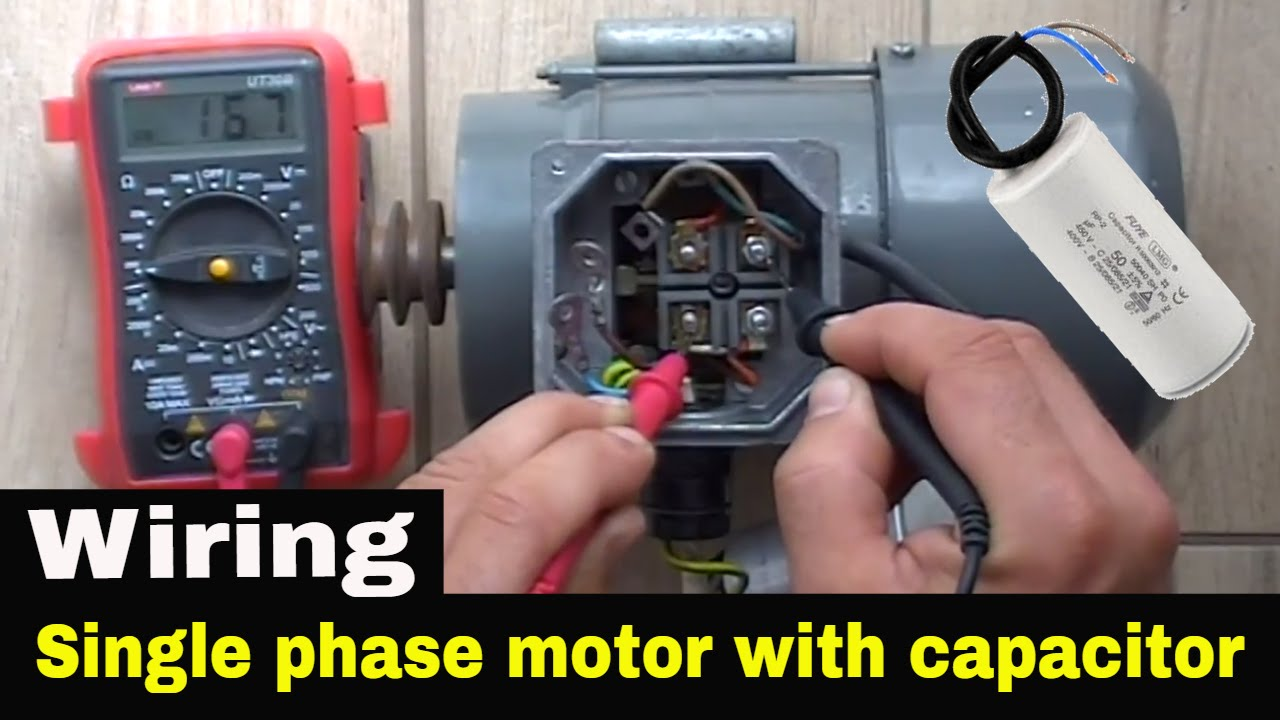 how to connect capacitor in single phase motor