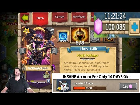 Best 11 Day Old Account EVER 100,000 Gems For Heroes Castle Clash