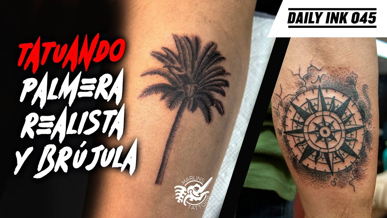 🌴TATUANDO PALMERA Single Needle y Brújula Black Work (Palm Tree & Compass  TATTOO) | Daily Ink 045 - YouTube