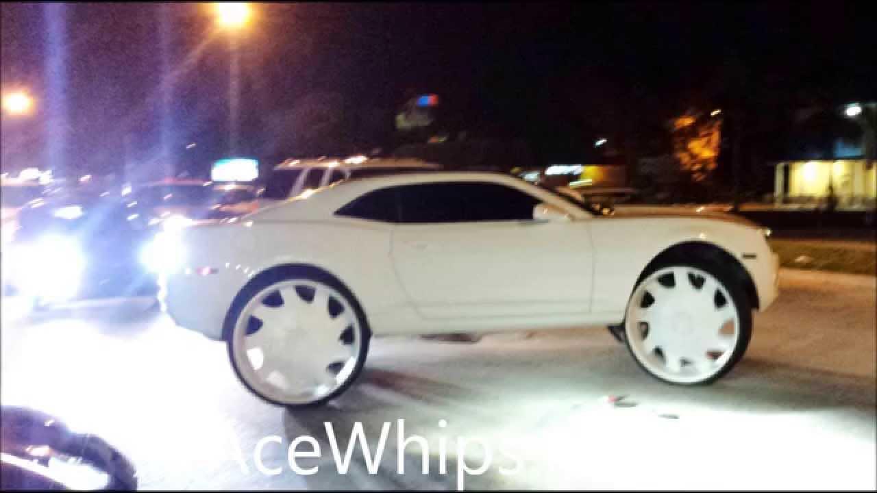 Acewhips Net White Chevy Camaro On 32 Quot Rockstars Slidin