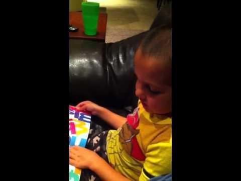 Wesley reads Chicka-Chicka Boom Boom