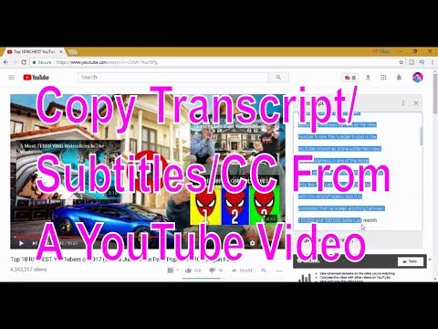 How To Copy Transcript/Subtitles/CC From A YouTube Video