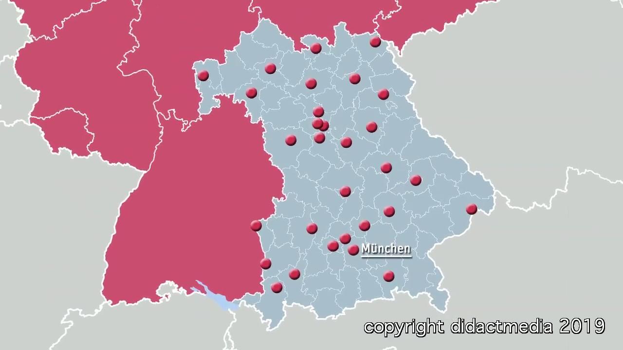 Karte Oberbayern Regionen.Bayern Bezirke Kreise Und Stadte Regionen In Deutschland Bayern