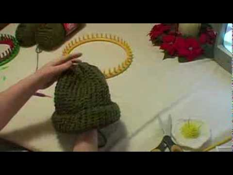 Knitting An Adult Hat On Round Loom Start To Finish Youtube