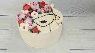 Торт для девушки Винница на заказ без мастики с доставкой* 🌹🌺🌷Cake Vn