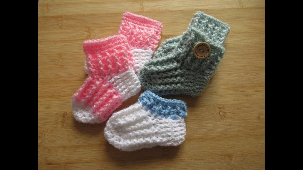 Crochet Baby Socks Tutorial Easy Booties 0 6 6 12 Months Designed