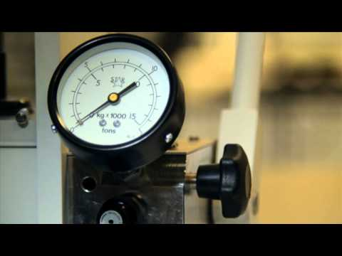 Specac's Manual Hydraulic press in action