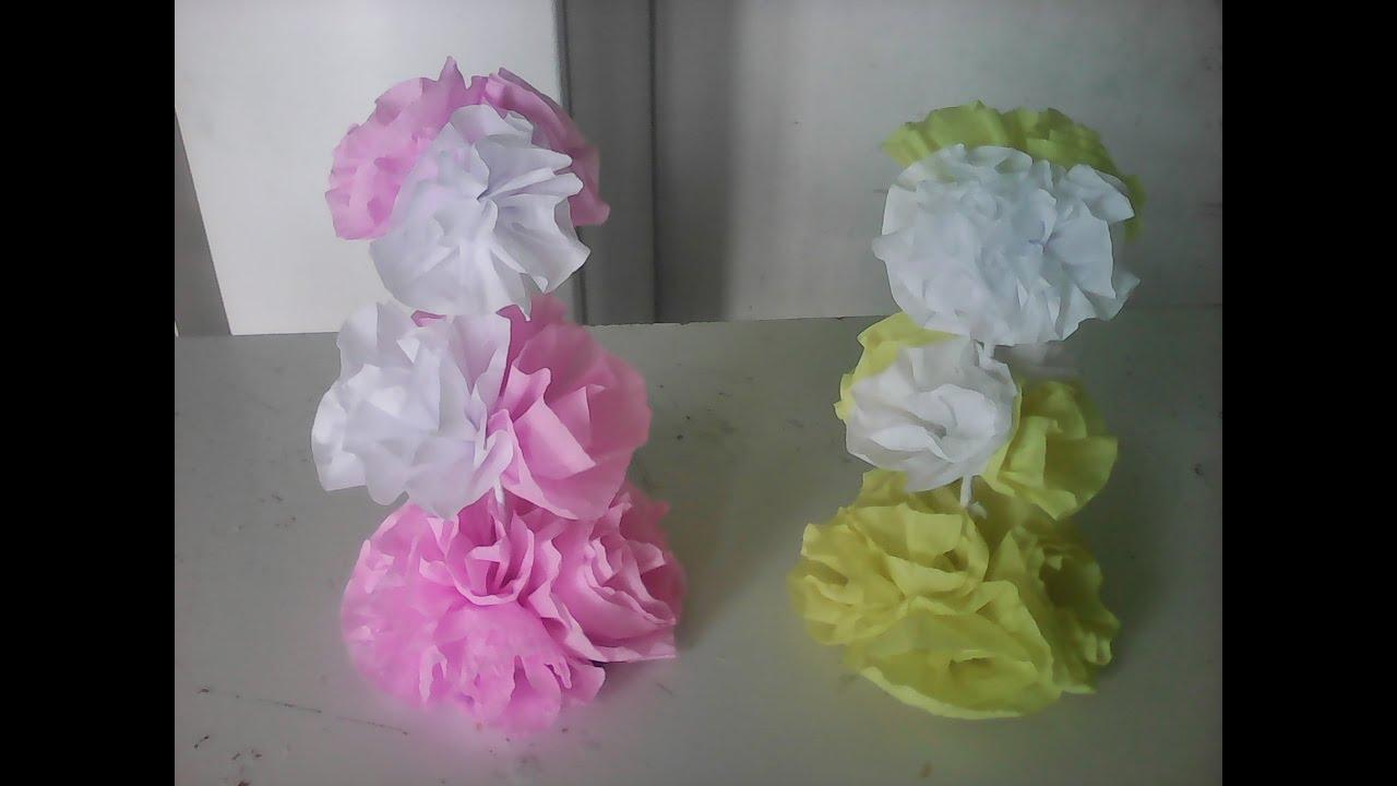 Centro De Mesa De Rosas De Papel Crepom Artesanato