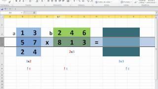 Multiplicación de Matrices Excel 2010