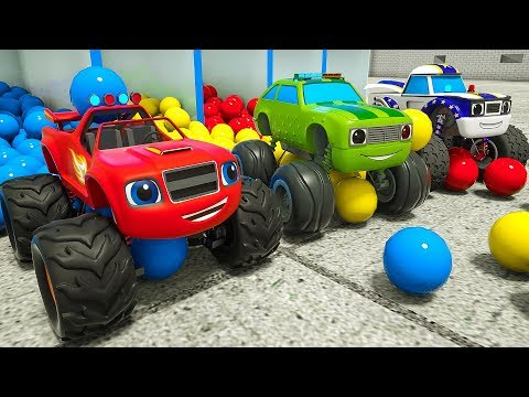 Learn Colors Monster Machine in Rainbow Pool. Assembly & Paint Nick Jr. Blaze Vehicles for Children