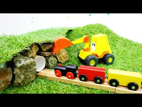 Toy Cars & Train Videos For Kids. Excavator Max & Tunnel For