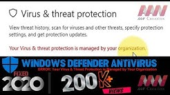 How to Fix Virus & Threat Protection is managed by Your Organization.(Not working Defender)