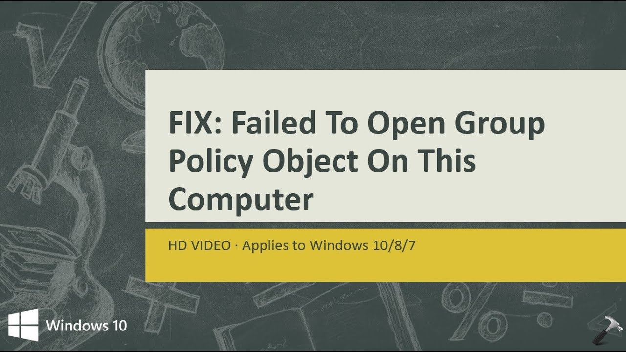 failed to open group policy object windows 10