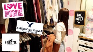 Teen Shopping Spree Vlog at the Mall Pink American Eagle Hollister