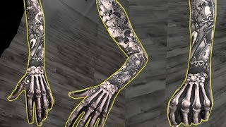 Tattoo Process - Free hand skeleton tattoo on the most insane sleeve done!