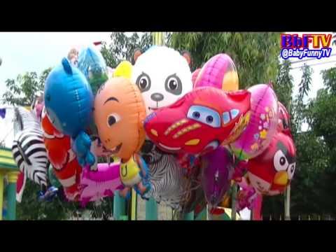 Brincando com Balão Tubarão de - Caráter de balões de brinquedos Masha, Boboiboy, Upin&Ipin, etc