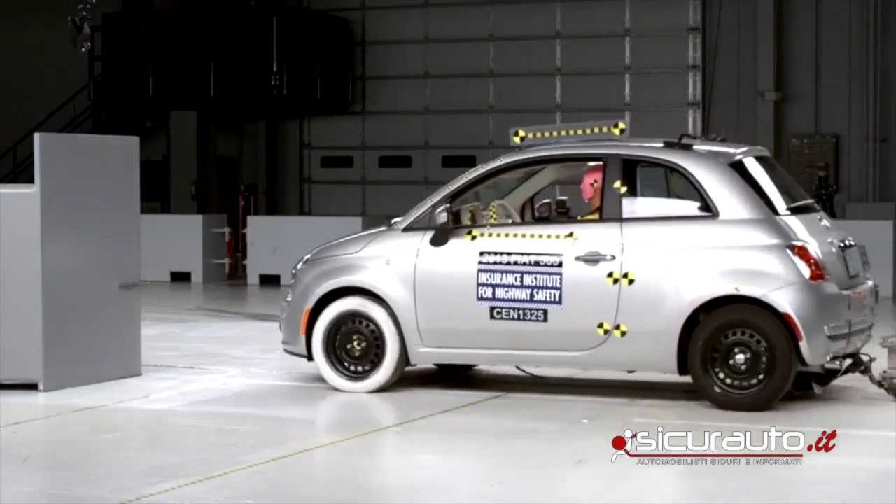 crash test iihs small overlap fiat 500 youtube. Black Bedroom Furniture Sets. Home Design Ideas