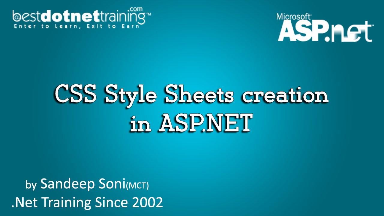 Creating CSS Style Sheets Creation in ASP.Net | ASP.Net Videos ...