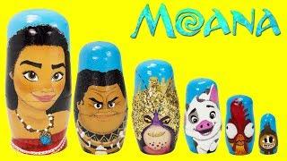 Disney MOANA Nesting Dolls, Maui, Pua, Hei Hei, Tamatoa, TOY SUPRISES