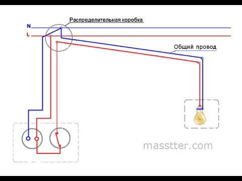 Подключение розетки и выключателя в одном блоке