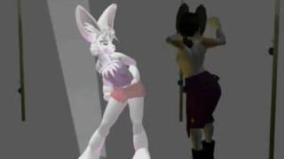 セクシーな男女とfurryのポールダンスが見どころの、セカンドライフで撮...