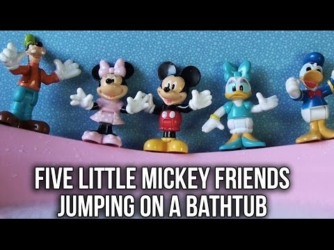 Thumbnail: Five Little Mickey Jumping on the Bathtub | Five Little Monkeys Jumping on the Bed Nursery Rhyme